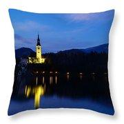Dusk Over Lake Bled Throw Pillow