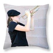 Female Trumpet Player. Throw Pillow