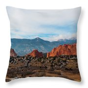 Garden Of The Gods And Pikes Peak Throw Pillow