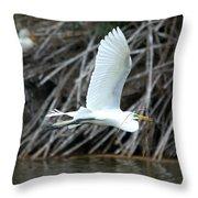 Great Egret Building A Nest Throw Pillow