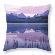 Reflection Of Mountains In A Lake Throw Pillow