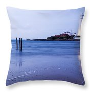 Saint Mary's Lighthouse At Whitley Bay Throw Pillow