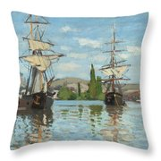 Ships Riding On The Seine At Rouen Throw Pillow