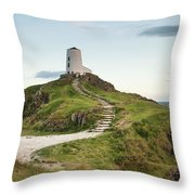 Stunning Summer Landscape Image Of Lighthouse On End Of Headland Throw Pillow