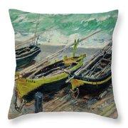 Three Fishing Boats Throw Pillow