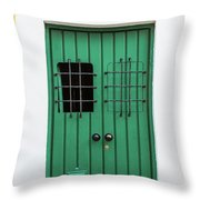 Wooden Door In Old San Juan, Puerto Rico Throw Pillow