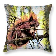 11451 Red Squirrel Sketch Throw Pillow