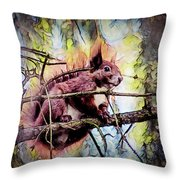 11452 Red Squirrel Sketch Square Throw Pillow