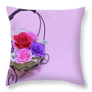 A Gift Of Preservrd Flower And Clay Flower Arrangement, Colorful Throw Pillow