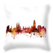 Barcelona Spain Skyline Throw Pillow