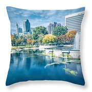 Charlotte North Carolina Cityscape During Autumn Season Throw Pillow