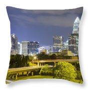 Downtown Of Charlotte  North Carolina Skyline Throw Pillow