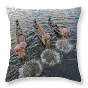Fisherman Inle Lake - Myanmar Throw Pillow