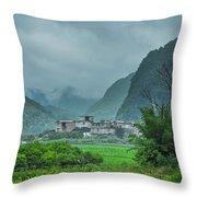 Karst Mountains Rural Scenery Throw Pillow