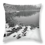 Snow Covered Landscapes In Belmont North Carolina Along Catawba  Throw Pillow