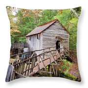 1267 Great Smoky Mountain Cable Mill Throw Pillow