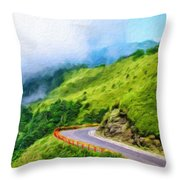 Nature Landscape Oil Painting On Canvas Throw Pillow