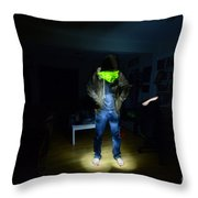 Light Painting Photography Throw Pillow