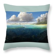 128098 Artwork Sea Fish Clouds Rock Formation Split View Throw Pillow