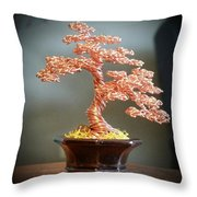 #129 Copper Wire Tree Sculpture Throw Pillow