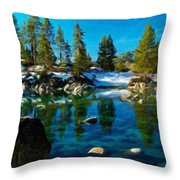 Nature Oil Canvas Landscape Throw Pillow