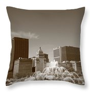 Chicago Skyline And Buckingham Fountain Throw Pillow