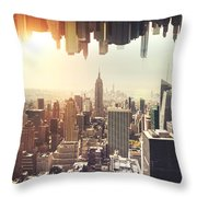 New York Midtown Skyline - Aerial View Throw Pillow