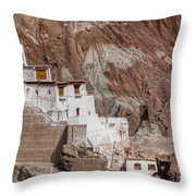 Ruins At Basgo Monastery Throw Pillow