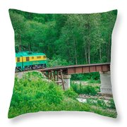 Scenic Train From Skagway To White Pass Alaska Throw Pillow