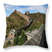 The Great Wall Of China Near Jinshanling Village, Beijing Throw Pillow