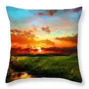 Nature Oil Canvas Landscape Throw Pillow