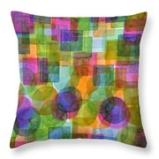 Befriended Squares And Bubbles Throw Pillow