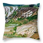 Longji Terraced Fields Scenery Throw Pillow