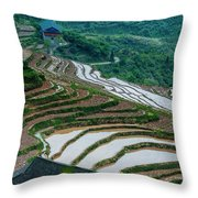 Longji Terraced Fields Scenery Throw Pillow