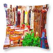 A Digitally Constructed Painting Of Cobbled Back Streets Of Kaleici In Antalya Turkey Throw Pillow