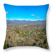 Aerial View On Mountains And Landscape Covered In Snow Throw Pillow