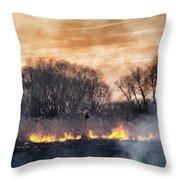 Fires Sunset Landscape Throw Pillow