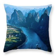 Karst Mountains And Lijiang River Scenery Throw Pillow