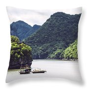Picturesque Sea Landscape. Ha Long Bay, Vietnam Throw Pillow