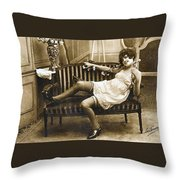 Vintage Nude Postcard Image Throw Pillow