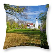 1406 North Point Lighthouse Throw Pillow