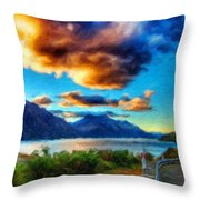 Nature Landscape Lighting Throw Pillow
