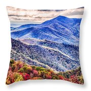Autumn Season On Blue Ridge Parkway Throw Pillow