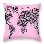 Cats Map Of The World Map Throw Pillow