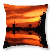 M N Landscape Throw Pillow