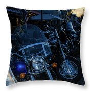 Motorcycles On Main Throw Pillow