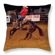 Steer Roping Throw Pillow