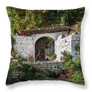 Street In Berat Old Town In Albania Throw Pillow
