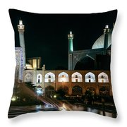 The Shah Mosque Famous Landmark In Isfahan City Iran Throw Pillow