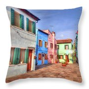 Burano Venice Italy Throw Pillow